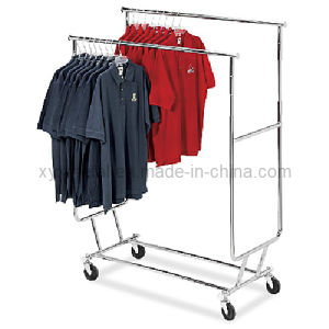 Foldable Collapsible Double Bar Rolling Garment Rails pictures & photos