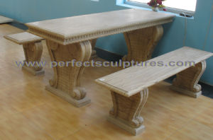 Stone Marble Garden Table Bench for Antique Garden Decoration (QTS014) pictures & photos