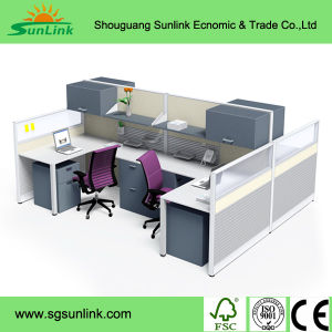 Modern U Shape Steel Frame Office Furniture for 4 Seater Wooden Workstation Table pictures & photos