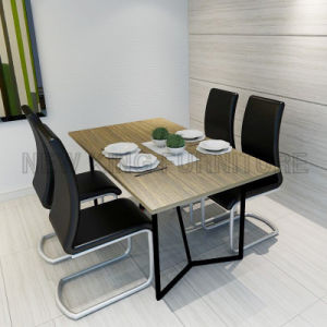 Modern Metal Table Legs Wood Dining Table Set (NK-DTB092)