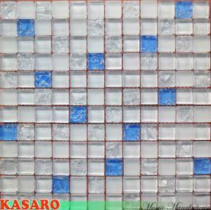 Super White Mix Blue Crackle Glass Mosaic (KSL5540)