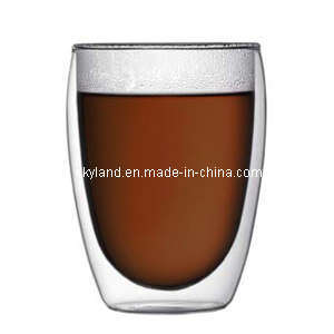 Heat Resistant Double Wall Glass Coffee Cup 12oz