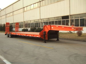 One Line Two Axles Lowbed Semi Trailer pictures & photos