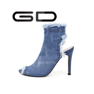 Ladies PU Leather High Heel Boots pictures & photos