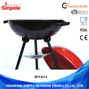 3 Legs Outdoor Charcoal BBQ Grill with Mesh and Red Lid pictures & photos