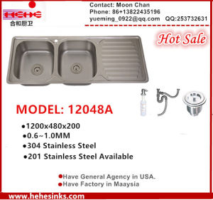 Topmount Stainless Steel Double Sink for Kitchen with Drain Board12048b pictures & photos