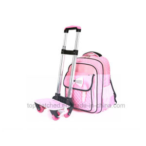 New Bowknot Design School Backpack Mutiple Pockets Wheeled Trolley School Bag pictures & photos