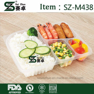 Disposasble 4 Compartment Plastic Food Container with Cover for Wholesale (1150ml) pictures & photos