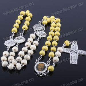 Cheap Wooden Bead with Rome Church Metal Rosary, Pray Rosary Beads Necklace