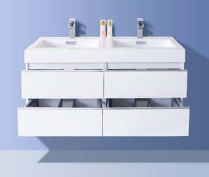 Luxury Double Drawers Painting Bathroom Cabinet (Glossy White) pictures & photos