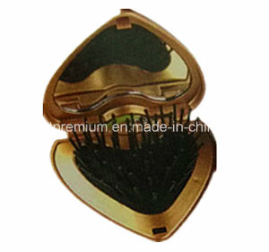 Golden Heart-Shaped Mirror Comb Pocket Foldable Mirror with Hair Brush BPS010