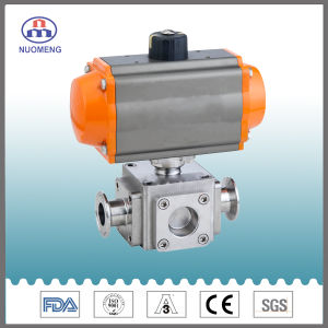Horizontal Pneumatic Cross Ball Valve pictures & photos