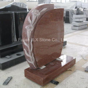 Ruby Red Granite Tombstone with Lily Flower pictures & photos