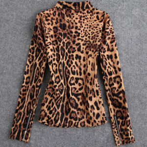 Zipper Cotton Short Leopard Motorcycle Bomber Jacket Womens pictures & photos
