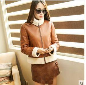 New Designs Short Style Shearling Leather Coat for Women Wholesell pictures & photos