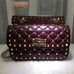 European Popular Studded Shoulder Bag Genuine Leather Women Handbags Emg4588 pictures & photos