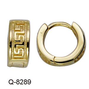 Fashion Brass Earrings Hoops with CZ in Yellow Gold Plated. pictures & photos