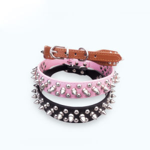 Pet Dog Collars Durable Leather Products with Rivets pictures & photos