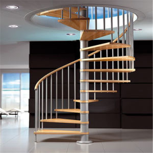 Indoor Modern Decorative Spiral Staircase Design Prefab Wood Spiral Stair Used Spiral Stair pictures & photos