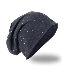 Beanie Hat with Black Faux Rhinestone Effect pictures & photos