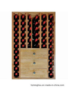 Rustic Classical Wood Wine Display Stand with 3 Drawer pictures & photos