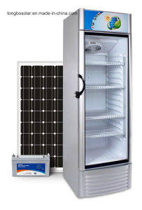 12 24V DC Solar Refrigerator Showcase, Solar Fridge 268L Upright pictures & photos