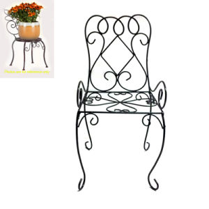Popular Garden Decoration Metal Black Linellae Chair Flowerpot Stand pictures & photos