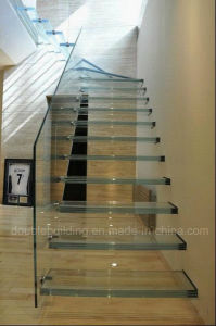 Floating Glass Staircase / Glass Stairs Stringer Hidden Glass Tread pictures & photos