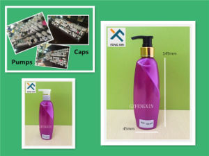 250ml Empty Plastic Curved Purple Pet Bottle with Black Sprayer pictures & photos