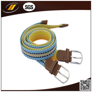 New Arrival Waistband Belts Woven Stretch Braided Elastic Leather Buckle Belt
