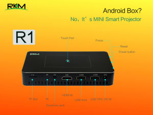 Newest Original Rkm R1 Smart Android 4.4 DLP Projector with 1GB 32GB WiFi Bluetooth 4.0 Connectivity pictures & photos