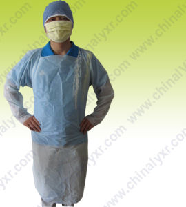 Polyethylene Isolation Gown with Thumb Loop Apron Style Tie Waist pictures & photos
