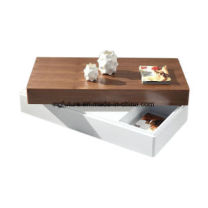 Two Pieces 360 Degree Swivel Creative Wooden Storage Coffee Table pictures & photos