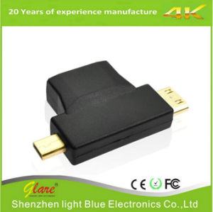 Mini HDMI + Micro HDMI to Female HDMI Connector Gold pictures & photos