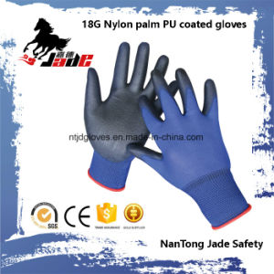 18g Blue Lind Palm Black PU Coated Industrial Glove pictures & photos
