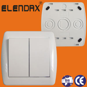 ABS 10A 250V Two Gang One Way Surface Mounting Electrical Wall Switch (S8002) pictures & photos