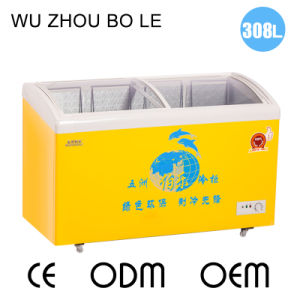 Highly Recommened Curve Sliding Glass Door Ice Cream Freezer