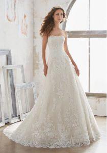 A-Line Strapless Lace Applique Corset Church Bridal Wedding Dress Custom Color pictures & photos