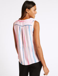 Striped Round Neck Sleeveless Shell Tops pictures & photos