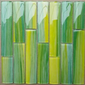 Hot Sale Handprinting Bamboo Series Green Glass Mosaic Tile pictures & photos