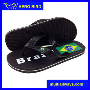 Braizl Flag Print Personlized Flip Flops PE Footwear Slipper (003-BLACK) pictures & photos