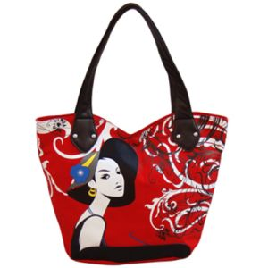 Fashion Canvas Handbags with Girl′s Pictures Printing (BS1011) pictures & photos