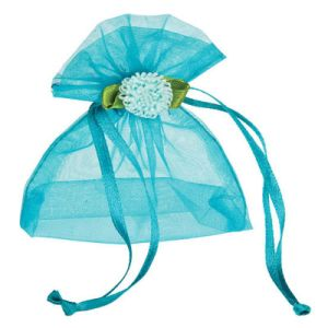 Custom Blue Gift Packaging Organza Drawstring Pouch for Wedding (COB-1152) pictures & photos