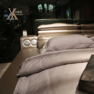 Top Grain Leather Bed with Stereo Equipment for Home (2092) pictures & photos