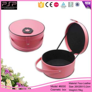 Pink Color Flower DEC PU Leather Round Beautify Cosmetic Box pictures & photos
