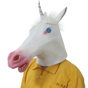 Latex Full Head Overhead Animal Cosplay Masquerade White Unicorn Mask pictures & photos