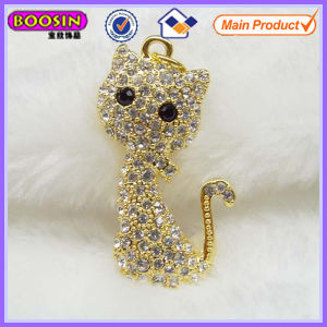 Lovely Cat Shape Rhinestone Big Gold Pendant #18266 pictures & photos