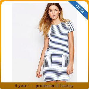 Custom Fashion Womens Stripe T Shirt Dress with Porket pictures & photos
