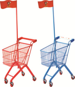 Powder Coating 17 Liter Children Use Kid Shopping Cart with Flag pictures & photos