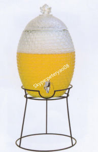 5L Glass Beverage Dispenser with Glass Lid and Metal Stand pictures & photos